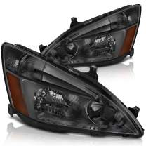 DWVO Headlight Assembly Compatible with 2003 2004 2005 2006 2007 Honda Accord OE Headlamp Replacement,Smoked Housing