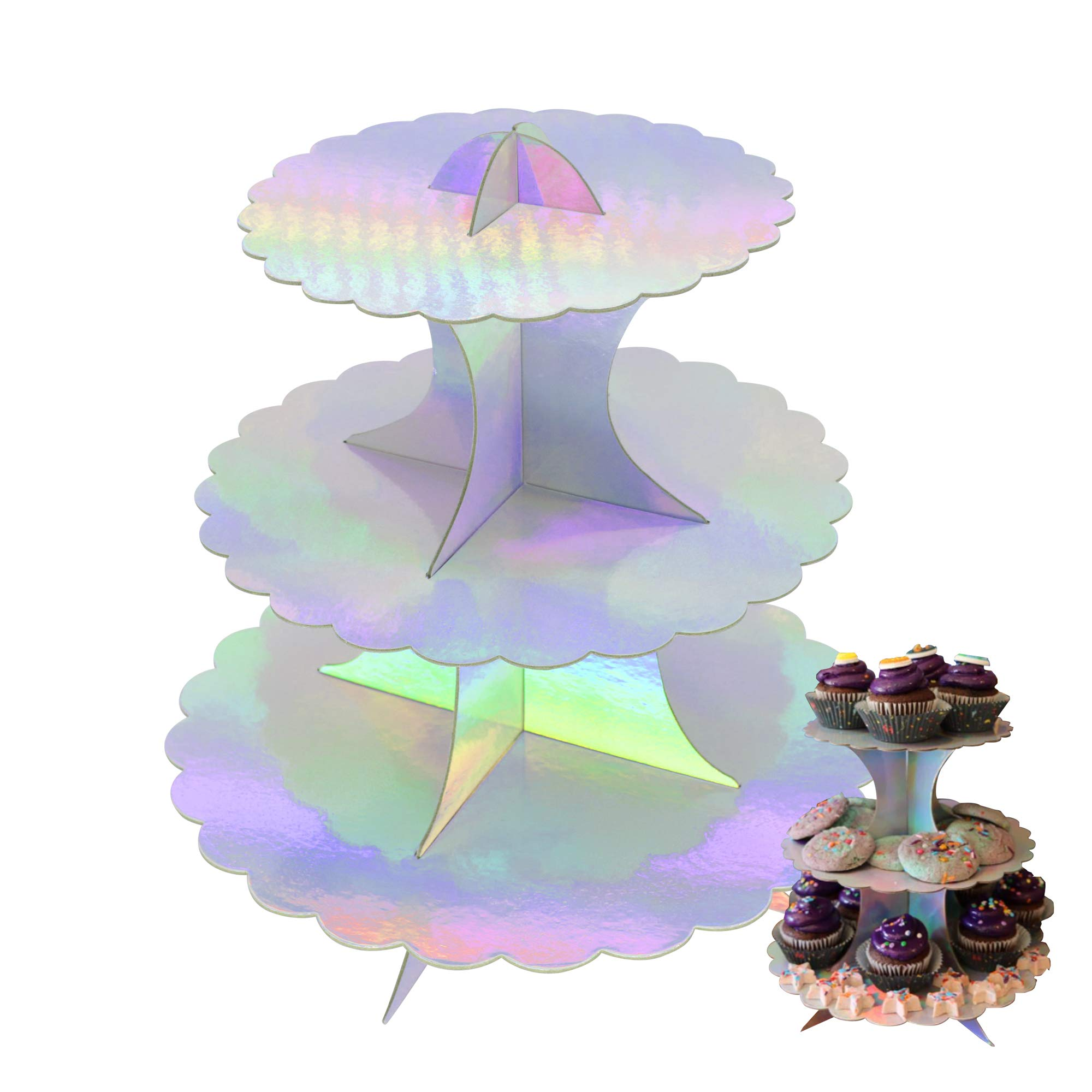 3-Tier Round Cupcake Stand Rainbow Cake Stand Cardboard Mini Dessert Stand Cupcake Tower for Party Baby Shower Birthday Wedding Party Supplies