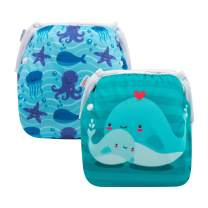 ALVABABY Baby Swim Diapers 2pcs Reuseable Washable Adjustable for Swimming Lesson Baby Shower Gifts 0-2 Years (DYK51-52)