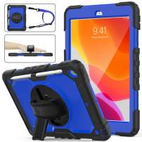 SEYMAC Stock iPad 7th Generation Case, Shockproof [Full-body] Rugged Armor Case with 360 Rotating Stand [Pencil Holder&Screen protector] Hand Strap for 2019 iPad 7 Model A2197 A2198 A2200 (Blue+Black)