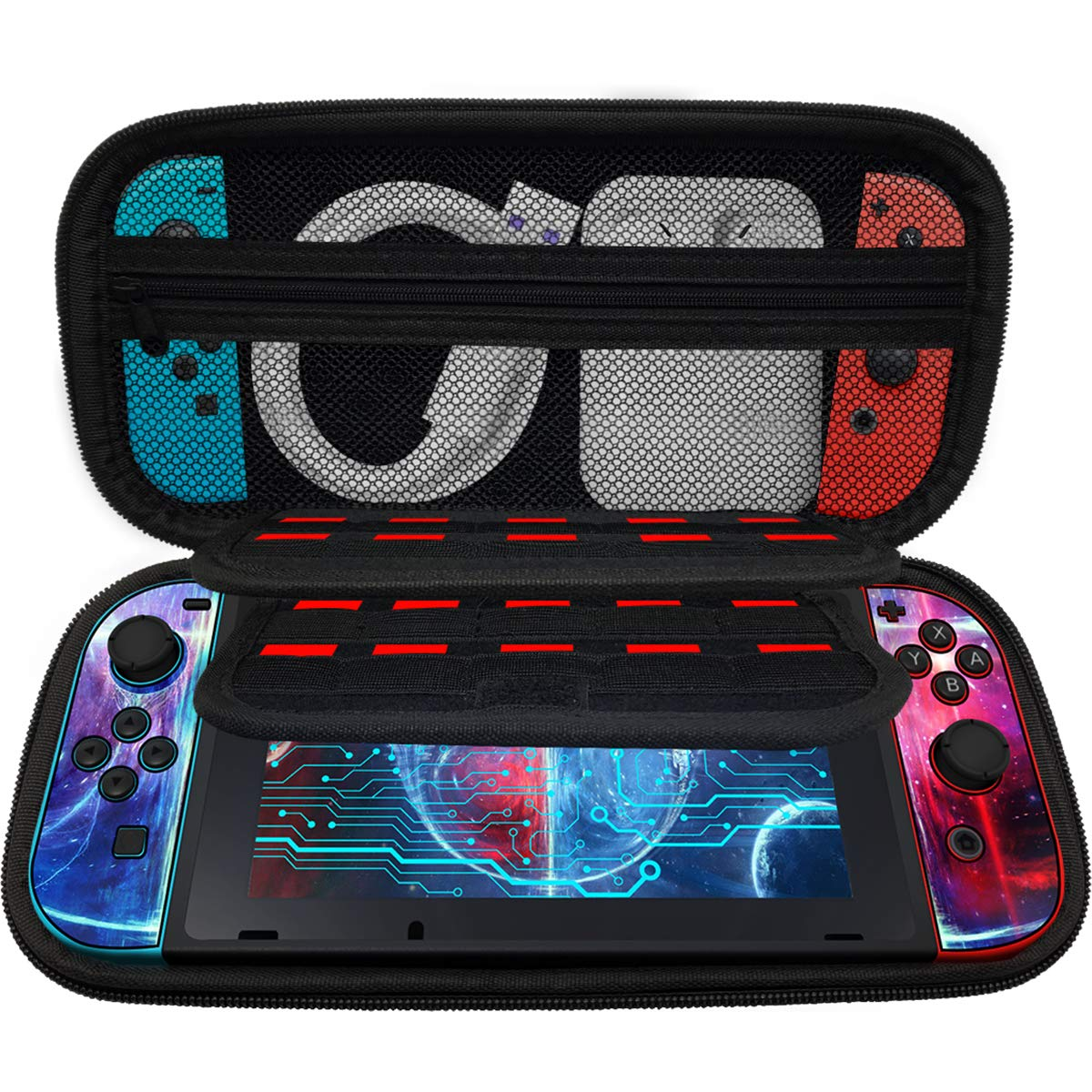 SHiQiMA Switch Case for Nintendo Switch with 20 Game Card Pockets and Large Accessories Hard Switch Carrying Case Cute Pouch for Joy-con & Game Cards Travel Case Bag Console & Accessories(Black)