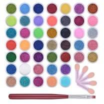 QIMYAR Glitter Powder for Nails Makeup Eyeshadow,45 Colors Nail Art Pigment Shimmer Powder Dust Cosmetic Body Face Hair Nails Festival Decoration with 5 Pcs Sponge Applicators+1 Pcs Brush