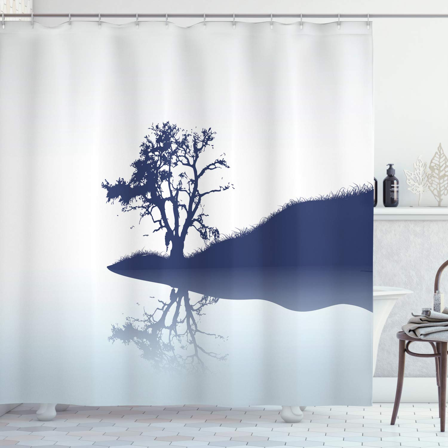 """Ambesonne Nature Shower Curtain, Silhouette of Lonely Tree by Lake with Mirror Effects Melancholy Illustration, Cloth Fabric Bathroom Decor Set with Hooks, 84"""" Long Extra, Indigo"""
