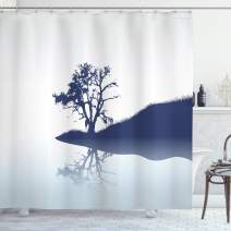"""Ambesonne Nature Shower Curtain, Silhouette of Lonely Tree by Lake with Mirror Effects Melancholy Illustration, Cloth Fabric Bathroom Decor Set with Hooks, 75"""" Long, Indigo"""