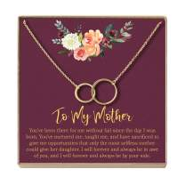 Dear Ava Mother Daughter Gift Necklace, Gifts for Mom, Mom Necklace, 2 Asymmetrical Circles