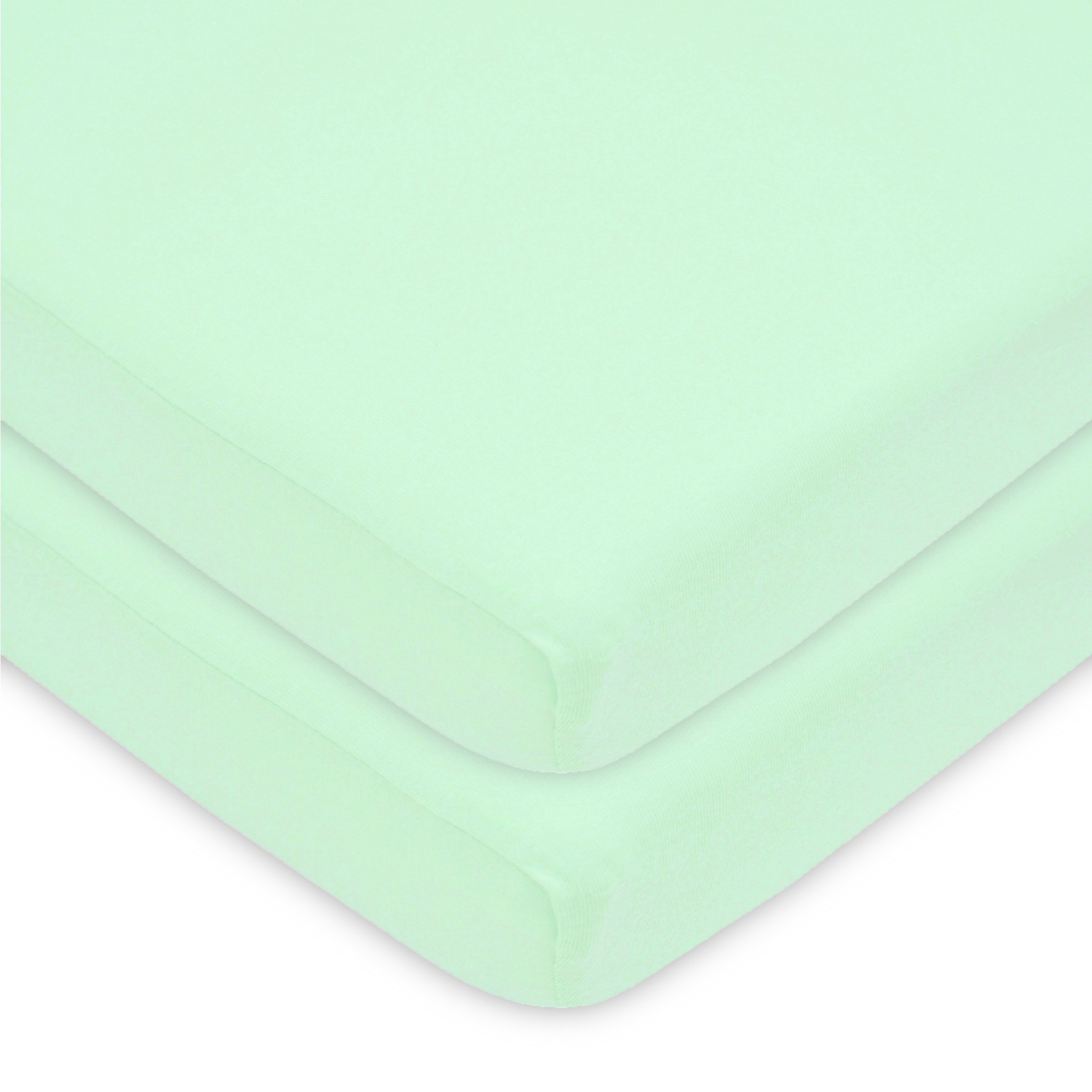 American Baby Company 100% Natural Cotton Value Jersey Knit Fitted Portable/Mini-Crib Sheet, Mint, Soft Breathable, for Boys and Girls, Pack of 2