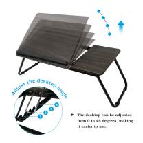 Seatingplus Foldable Lap Desk, Adjustable Bed Tray for Eating/Writing/Reading, Portable Small Table with Tilting Top (HJ150401bn)