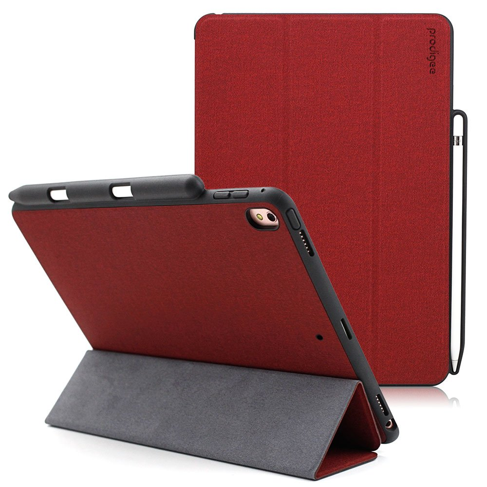 Prodigee [Expert] Red for iPad Air 10.5'' (2019) - iPad Pro 10.5 (2017) Protective Magnetic Flap Smart Case Hard Impact Resistant Cover with Stand Capability Auto Sleep/Wake Pencil Holder