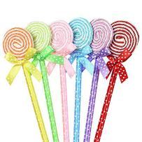 WIN-MARKET Fashion Cute Colorful Cute Kawaii Lovely Flat Lollipop Gel Ball Pens Office School Supply Stationery(6PCS)