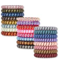 Spiral Hair Ties, V-Opitos No Crease Hair Ties, 24-Colors Phone Cord Hair Ties, Hair Coils,Elastic Coil Hair Ties for Women Girls, Apply to Curly, Straight, Thick, Thin, Short, Long Hair(24 Pack)