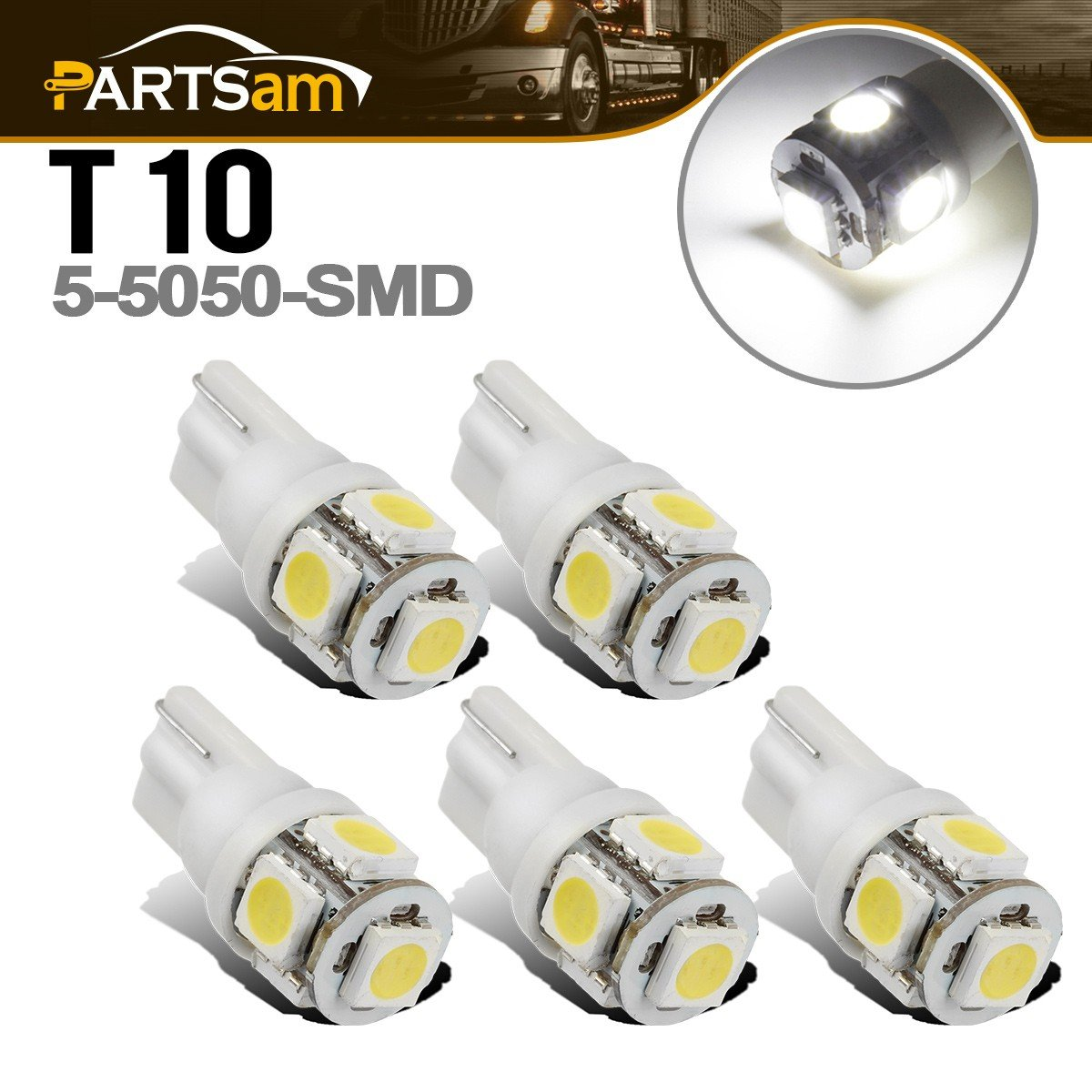 Partsam T10 LED Light Bulbs 5X White 161 168 194 Wedge Base Lights 5-5050-SMD for Cab Roof Running Marker Light LED Backup License Plate Parking Turn Signal Light