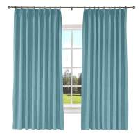 TWOPAGES 84 W x 84 L inch Pinch Pleat Blackout Curtain for Bedroom Polyester Cotton Blend Room Darkening Blackout Curtains with Liner, (1 Panel, Everglade Teal)