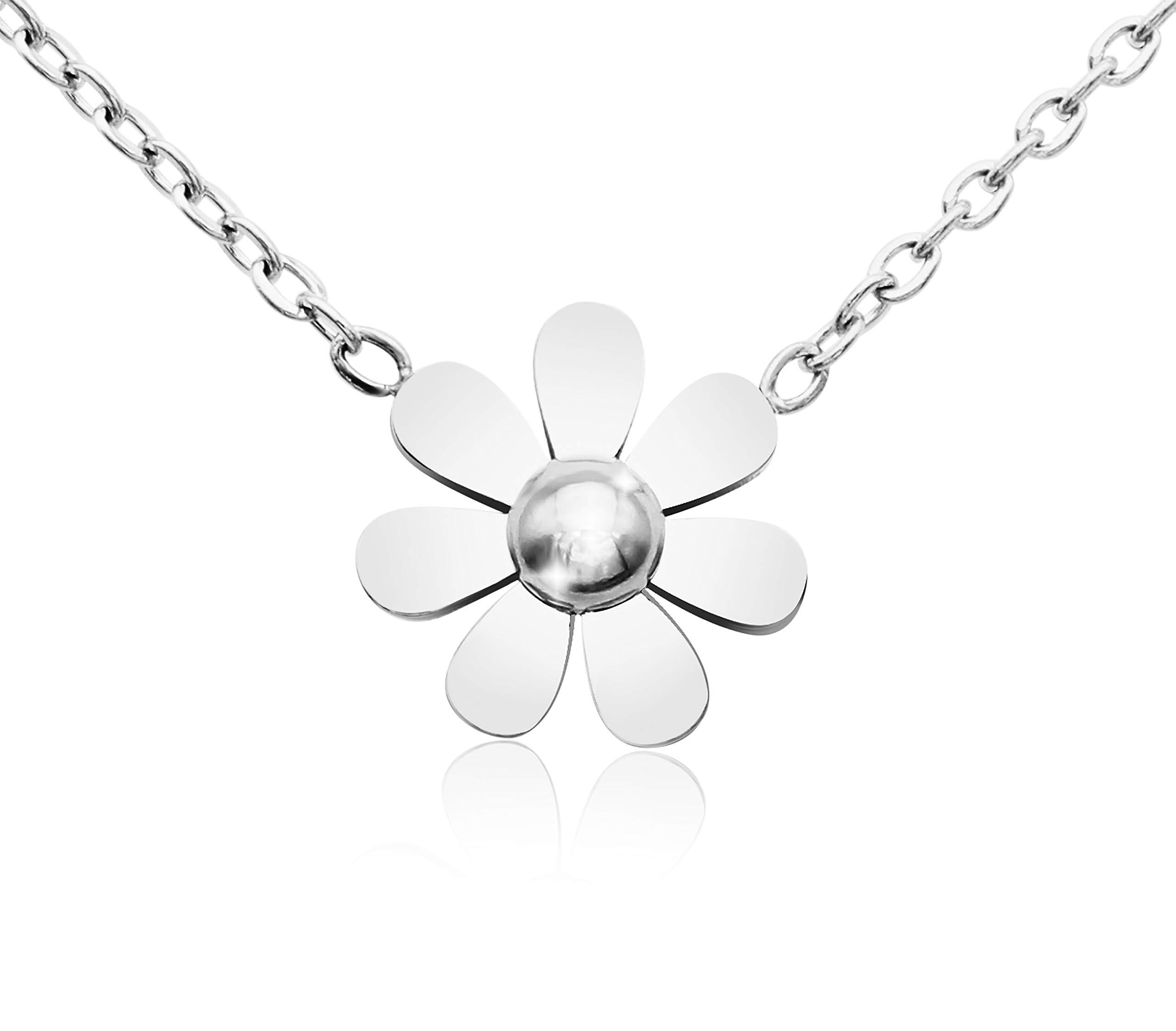 KristLand - 18k Gold Plated Titanium Steel Cute Sun Flower Short Necklace Rose Gold Color Delicate Adjustable Choker