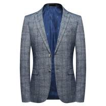 Mens Plaids Suit Jacket Casual Checked 2 Buttons Notch Lapel Daily Dress Suit Sport Coat