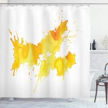 "Ambesonne Yellow and White Shower Curtain, Abstract Splash Watercolor on White Backdrop Dirty Stain Grunge Look, Cloth Fabric Bathroom Decor Set with Hooks, 75"" Long, Marigold Yellow"