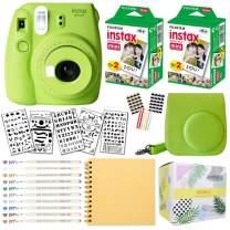 Fujifilm Instax Mini 9 Instant Camera (Lime Green) + Fuji INSTAX Film (40 Sheets) + Bundle with: Groovy Camera Case + Scrapbook Photo Album + Stencils + Metallic Markers + Photo Corners