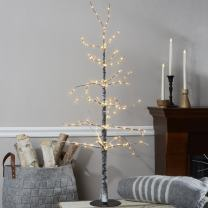 LampLust 4 Foot Lighted Tree - Artificial White Flocked Tree with 228 LED Lights, Bendable Branches, Plug in, Stand Included, Prelit Indoor Decor or Easter Decoration