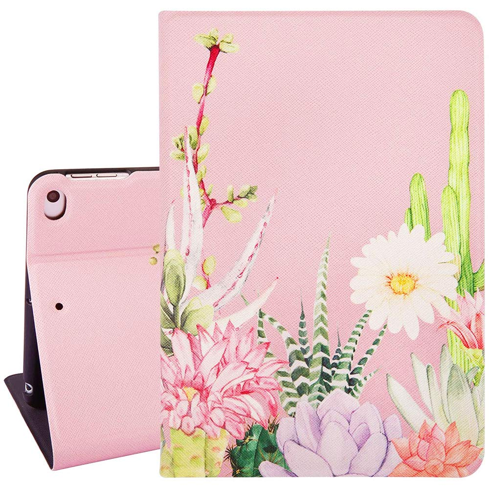 Hi Space iPad Mini 4th and 5th Gen Case iPad Mini 7.9 Flower Pink Case, Cactus Succulent 7.9 Inch Folio Stand Smart Tablet Case Cover Fit iPad Mini 4/5 A2133 A2124 A2126 A2125 Auto Sleep Wakeup