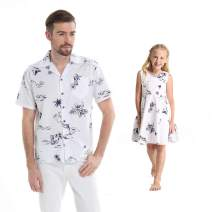 Matching Father Daughter Hawaiian Luau Dance Shirt Vintage Dress Classic Map Flamingo