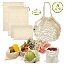 Reusable Grocery Bags, Organic Cotton Mesh Produce Bags With Drawstring Grocery Bags Reusable Foldable for Shopping & Storage, Net Zero Muslin Bags Washable Eco-Friendly (5 Pack) (Natural White)