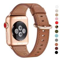 WFEAGL Compatible iWatch Band 38mm 40mm, Top Grain Leather Band with Gold Adapter (The Same as Series 5/4/3 with Gold Aluminum Case in Color) for iWatch Series 5/4/3/2/1 (Brown Band+Rosegold Adapter)