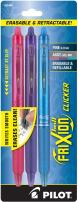 PILOT FriXion Clicker Erasable, Refillable & Retractable Gel Ink Pens, Fine Point, Pink/Purple/Turquoise Inks, 3-Pack (31469)