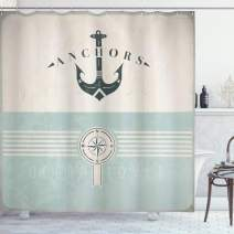 """Ambesonne Nautical Shower Curtain, Vintage Marine Design for Ocean Lovers Anchor Compass and Stripes, Cloth Fabric Bathroom Decor Set with Hooks, 70"""" Long, Beige Turquoise"""