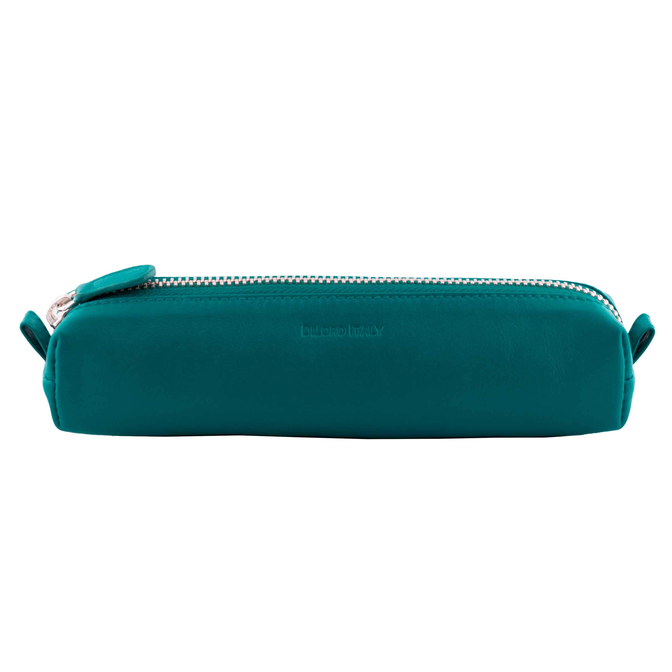 DiLoro Leather Zippered Fountain Ballpoint Rollerball Pens and Pencils Case Holder Pouch Genuine Full Grain Soft Nappa Leather (Turquoise Green)