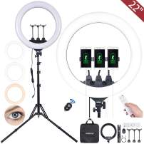 22 inch LED Ring Light Kit with Stand with Three-Position Shooting- YANGFAN 65W Dimmable Lighting for Vlog, Makeup, YouTube, Camera, Photo, Video,3200K-6500K