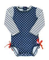 RuffleButts Baby/Toddler Girls Navy Polka Dot One Piece Rash Guard Swimsuit - 6-12m