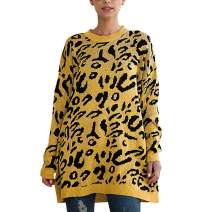 Raroauf Women's Casual Crew Neck Long Sleeve Oversized Leopard Print Knitted Pullovers Sweater Shirt Tops