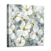 "Flower Abstract Art Floral Picture: White Botanical Artwork Painting on Canvas Wall Art for Dining Rooms (24""x 24""x1 Panel)"