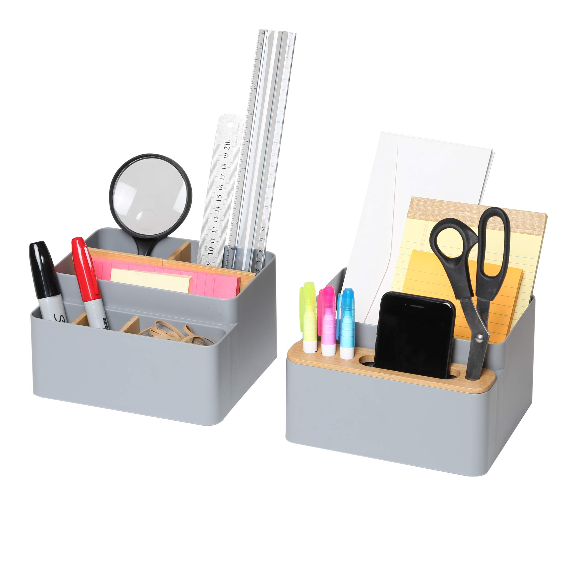 Seville Classics 2-Piece Bamboo Pen & Pencil Caddy Set with Drop-in Dividers 13 Compartment Phone Holder Storage Office Desk Organizer, Gray