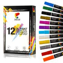 12 Paint Pens for Rock Painting, Wood, Metal, Plastic, Canvas, Tire, Rocks - Oil Paint Markers with Medium Size Tips, Painting Pen Marker