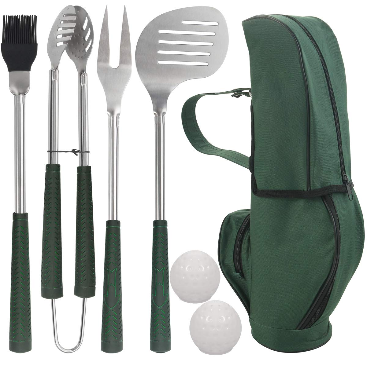 POLIGO 7pcs Golf-Club Style BBQ Grill Tool Set - Stainless Steel Grill Accessories in Golf-Club Style Bag for Camping - Premium Grill Utensils Ideal Birthday Fathers Day Grilling Gifts for Men Dad