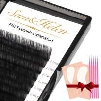 Sam&Helen Ellipse Eyelash Extensions,16 Rows Flat Lash Extension,Mink Individual lashes 0.2mm CC Curl Mixed13-20mm Black Matte Individual Eyelashes Extension,Professional Salon Use