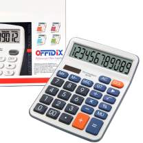 OFFIDIX Calculators, Standard Function Desktop Calculator, Desk Large Key Calculator, Dual Power Electronic Calculator Portable 12 Digit Large Display Calculator (Battery Included)