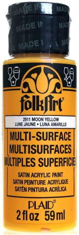 FolkArt Multi-Surface Paint in Assorted Colors (2 oz), 2911, Moon Yellow