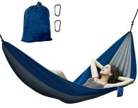 Avalanche Hammock Portable Single or Double Parachute Lightweight Strong Enforced Nylon Includes 2 Carabiners (Blue, Single Person)