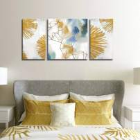 Geometric Abstract Wall Art 3 Pieces Large Painting Blue White Canvas Print Gold Metallic Wall Artwork Pictures Ready to Hang for Living Room Bedroom Office Home Decoration 24x48inch