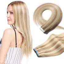 S-noilite 20Pcs 60g Remy Tape in Hair Extensions Human Hair Seamless Skin Weft Invisible Double Sided Glue in hair for women Silky Straight 12 Inch #18/613 Ash Blonde&Bleach Blonde Color