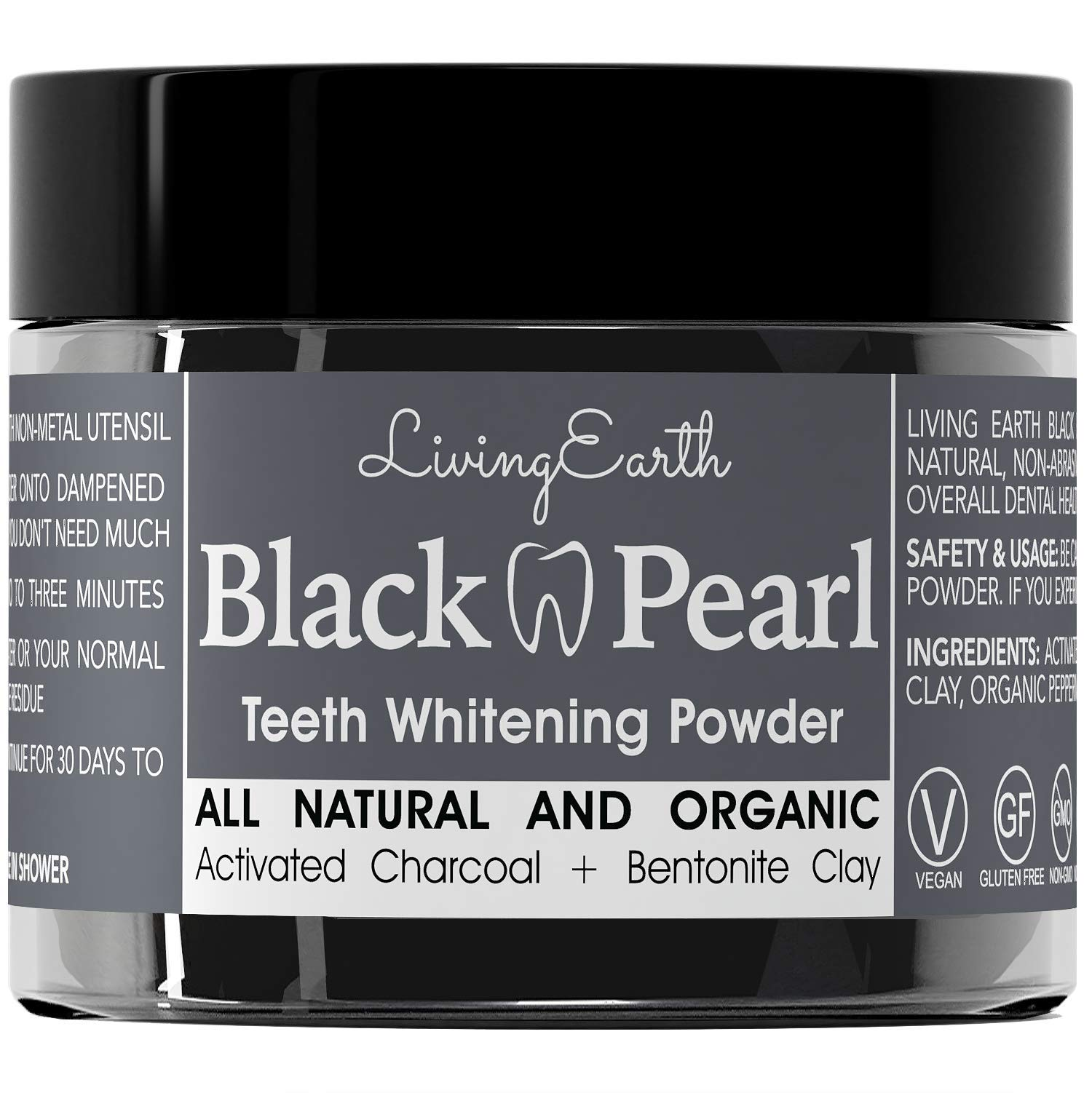 Black Pearl Activated Charcoal Teeth Whitening Toothpaste - Organic Coconut Charcoal - Freshens Breath - Remineralizing Tooth Powder - Anti-Bacterial - Made In USA - Glass Jar
