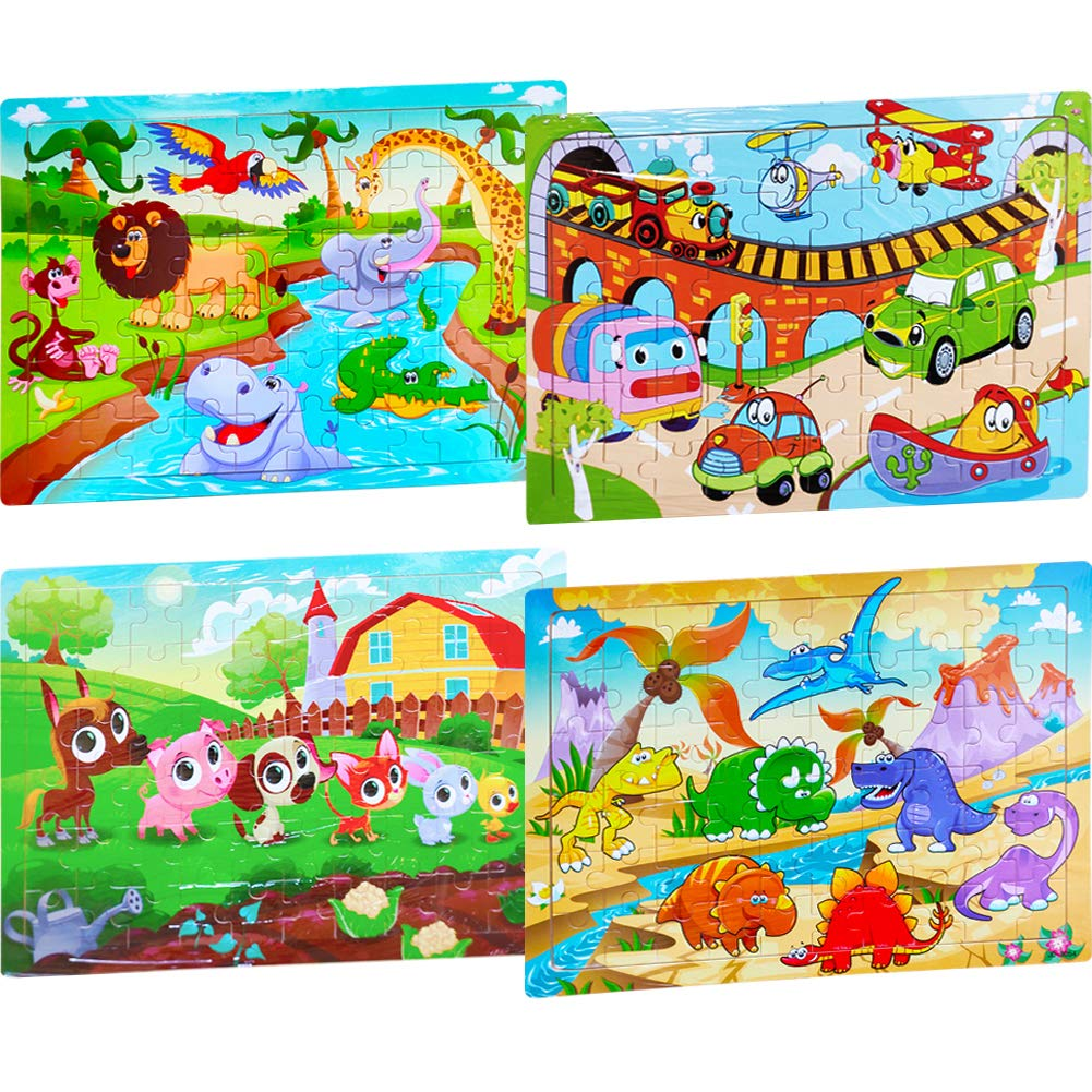 4-Pack Wooden Jigsaw Puzzles for Kids Ages 3-8 Educational Toys 60 Pieces Floor Children Puzzle Include Traffic Puzzle Animal Kingdom Puzzle