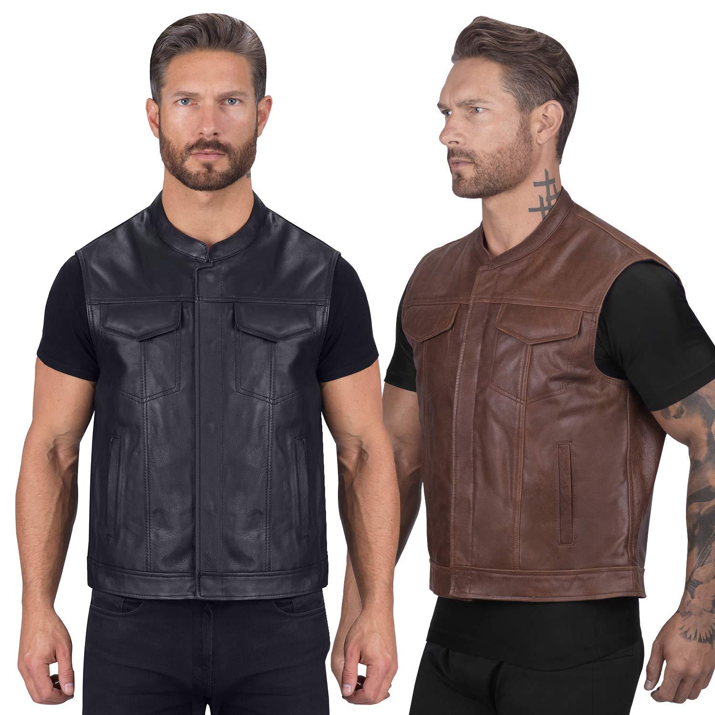 Viking Cycle Gardar Genuine Buffalo Leather Motorcycle Vest for Men – Biker Club Vest with Concealed Carry Hidden Pocket