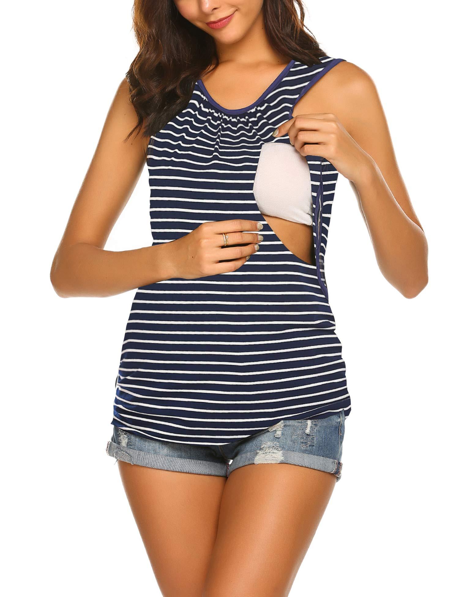 Ekouaer Maternity Clothes Womens Nursing Tops for Breastfeeding Tee Shirts Soft Double Layer Short Sleeve Pregnancy Pajamas