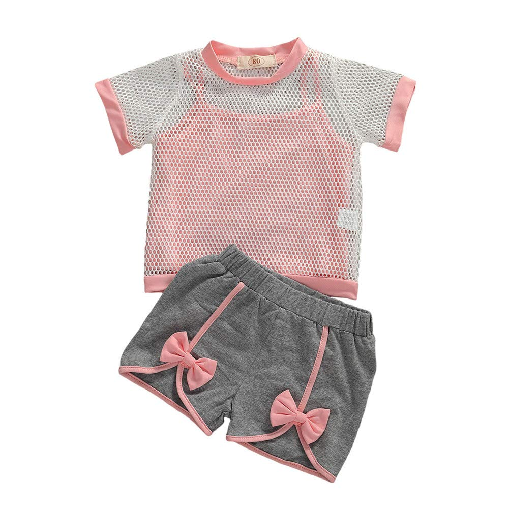 3Pcs Toddler Baby Girl Sleeveless Vest Top+Short Sleeve Mesh Shirt+Bow Shorts Kids Sun Suit Tracksuit Sport Outfit