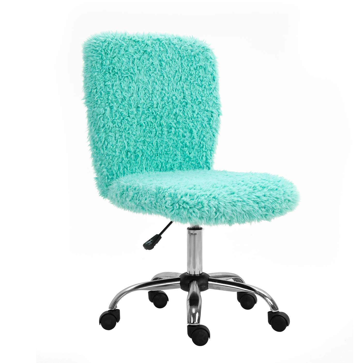 SEATZONE Faux Fur Desk Chair, Small Cute Fuzzy Desk Chair for Girls, Swivel Rolling Vanity Chair Height-Adjustable Office Chair Mint