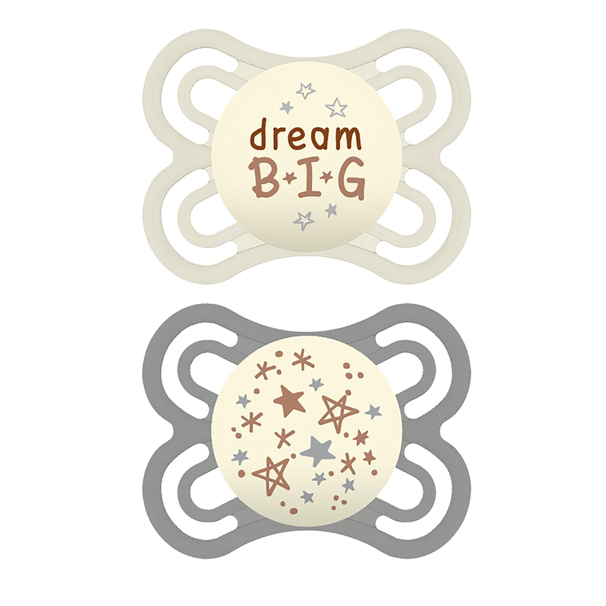 MAM Perfect Night Pacifiers, Glow in the Dark Pacifiers (2 pack) MAM Pacifiers 0-6 Months, Best Pacifier for Breastfed Babies, Unisex Baby Pacifier, Designs May Vary