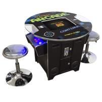 Creative Arcades Full-Size Commercial Grade Cocktail Arcade Machine | Trackball | 60 Classic Games | 2 Sanwa Joysticks | 2 Stools | 3-Year Warranty | Round Glass Top