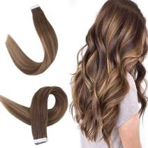 """Easyouth 18"""" Tape in Human Hair Extensions Balayage Color #4 Fading to #24 Highlighted with Color #4 Skin Weft Glue in Straight Remy Hair 2g/Piece 40g/Pack Tape on Ombre Real Hair Extensions"""